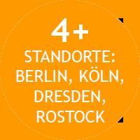 Die Standorte der IMTB: Berlin, Köln, Dresden und Rostock.