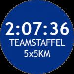 Unser Teamstaffelrekord beträgt 2:07:36 auf 5x5km