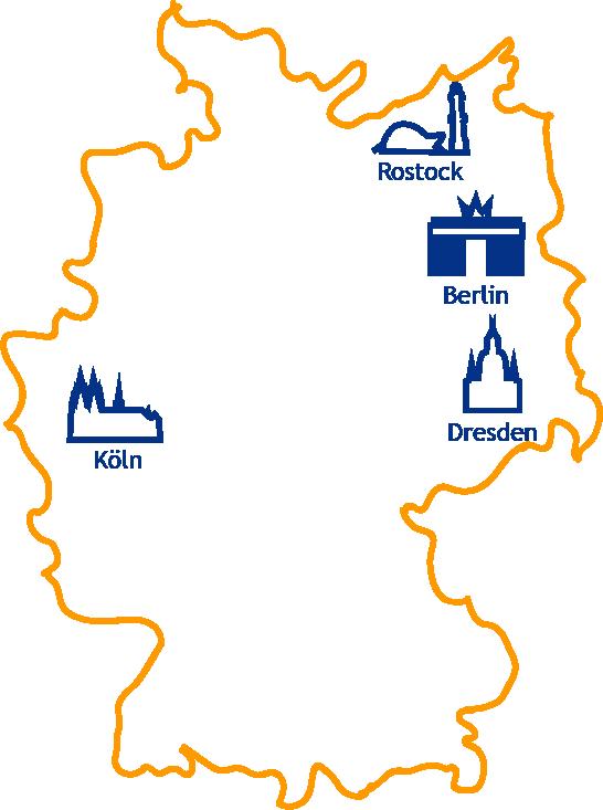 Die Standorte der IMTB: Berlin, Köln, Dresden und Rostock