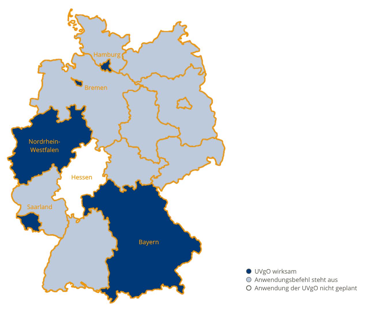 Landkarte Übersicht zur UVgO in Deutschland Juni 2018