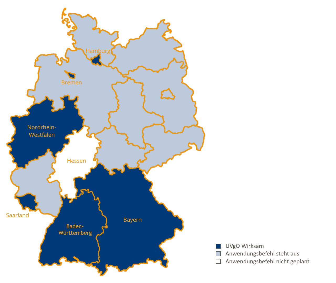Landkarte Übersicht zur UVgO in Deutschland Oktober 2018
